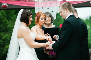 Ryan and Sarah prepare to exchange rings - Posted by Patricia Stimac, Seattle Wedding Officiant
