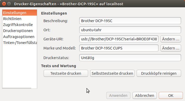Drucker einrichten | Ubuntu 14.04