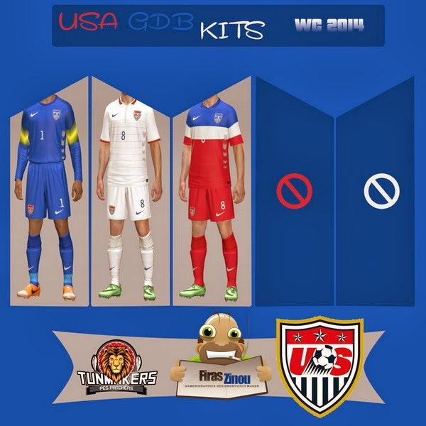 PES 2014 USA GDB World Cup 2014 Kits by Firas Zinou