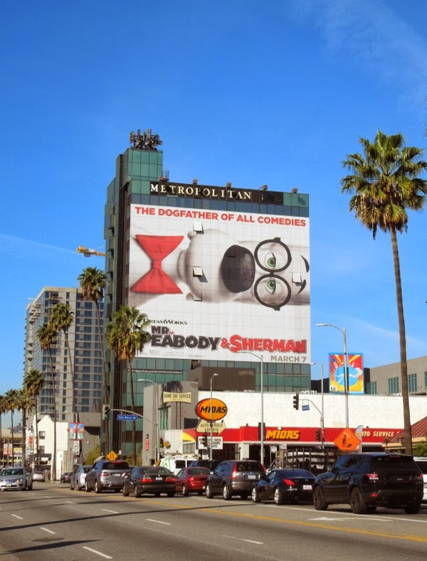 Giant Mr Peabody & Sherman billboard Sunset Boulevard