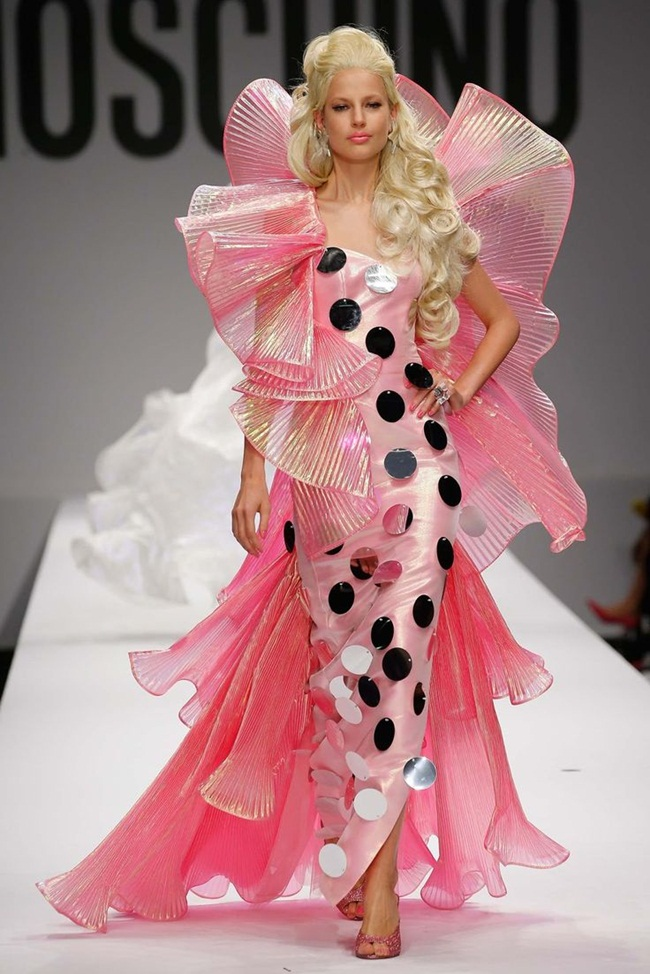 Moschino 2015 SS Barbie Pink Beauty Queen Gown on Runway