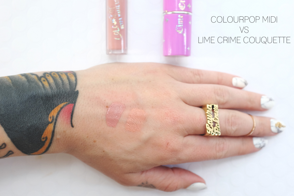 ColourPop Cosmetics Ultra Matte Lip Midi versus Lime Crime Coquette - Mini Penny Blog