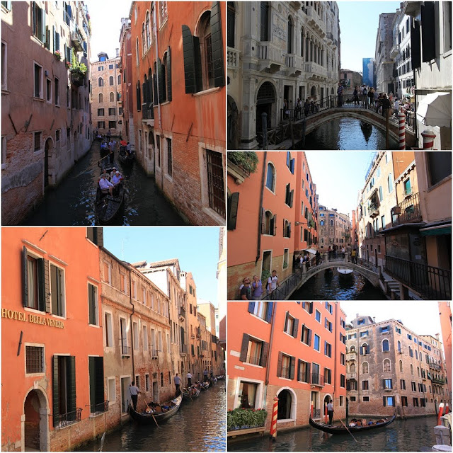 Gondolas and mini bridges along canals in Venice, Italy
