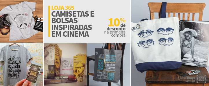 Banner da loja 365 filmes exibindo camisetas e bolsas com temáticas inspiradas no cinema