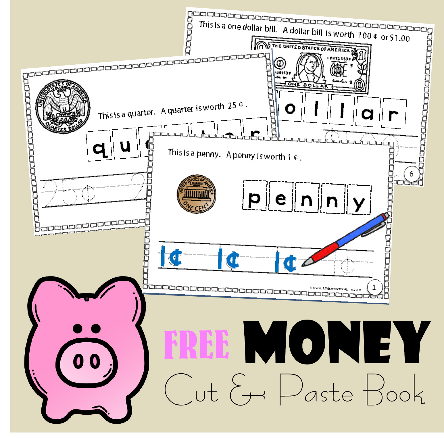 Money Cut and Paste Book – Free Printable Cut and Paste Worksheets