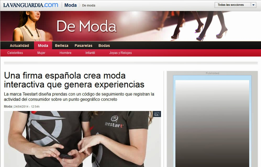 la firma teestart en el diario LA VANGUARDIA