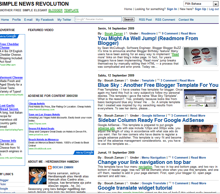 Simple News Revolution Blogger Template Free Download - News Blogger ...