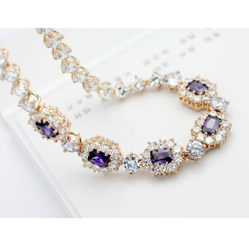 Elegant Golden Swarovski Crystal Sterling Silver Chokers Necklace