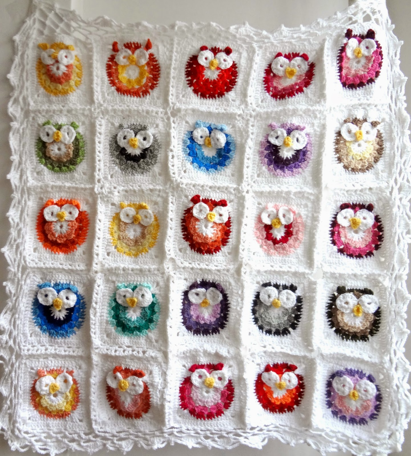 Crochet Pattern Owl Baby : Little Treasures: Crochet Owl Blanket Pattern