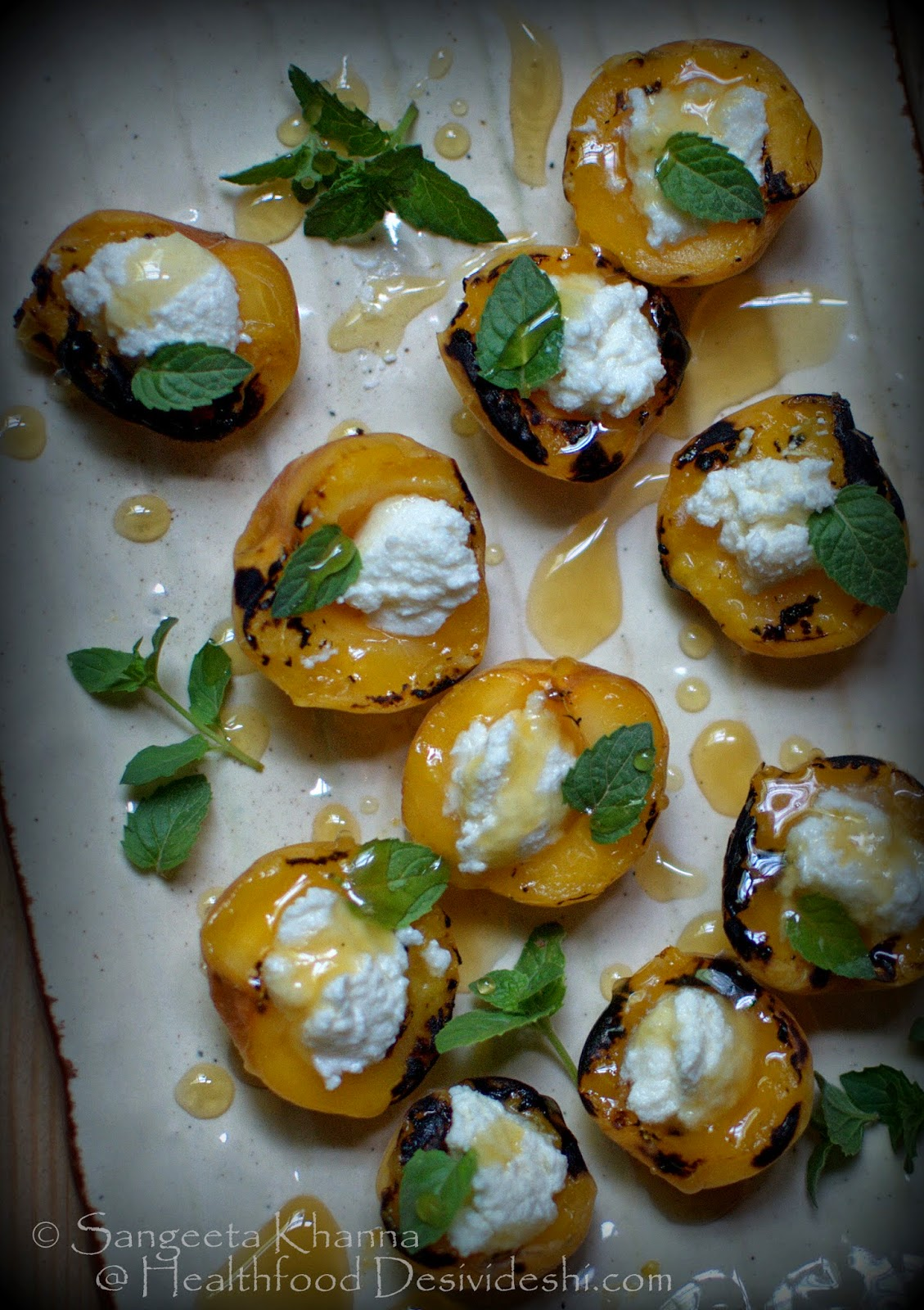 desserts without sugar: grilled apricot halves with sour cream and litchi honey   make it an appetiser or a dessert