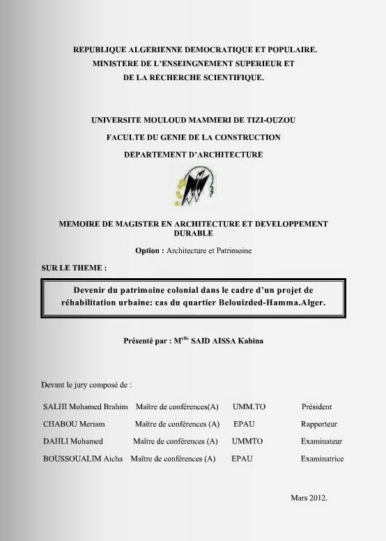 memoire option architecture et patrimoine l 39 architecture en algerie. Black Bedroom Furniture Sets. Home Design Ideas