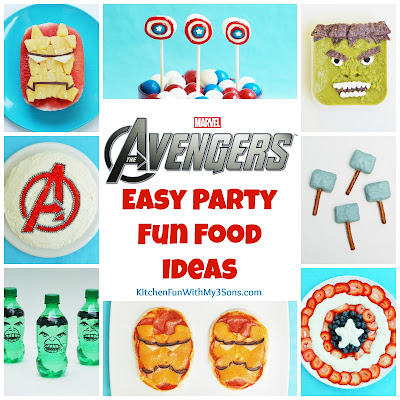 Easy Super Hero Fun Food Ideas for a Avengers Party from KitchenFunWithMy3Sons.com