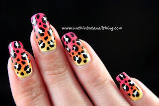Leopard print gradient nail art