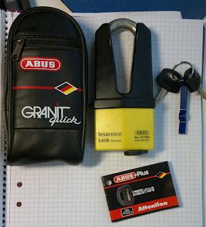 Skivbromslås: ABUS Granit quick med 2 st nycklar säljes
