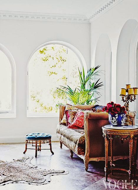eclectic white room