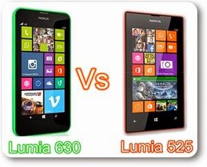 Lumia 630 versus Lumia 525 Comparison of Specifications and price India