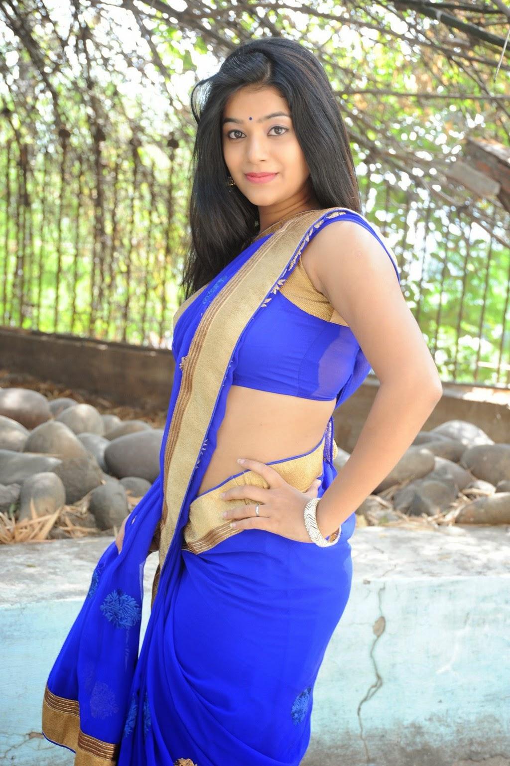 Yamini Bhaskar in Sizzling Sleeveless Blue Blouse Blue Transparent Half Saree Must see Beauty