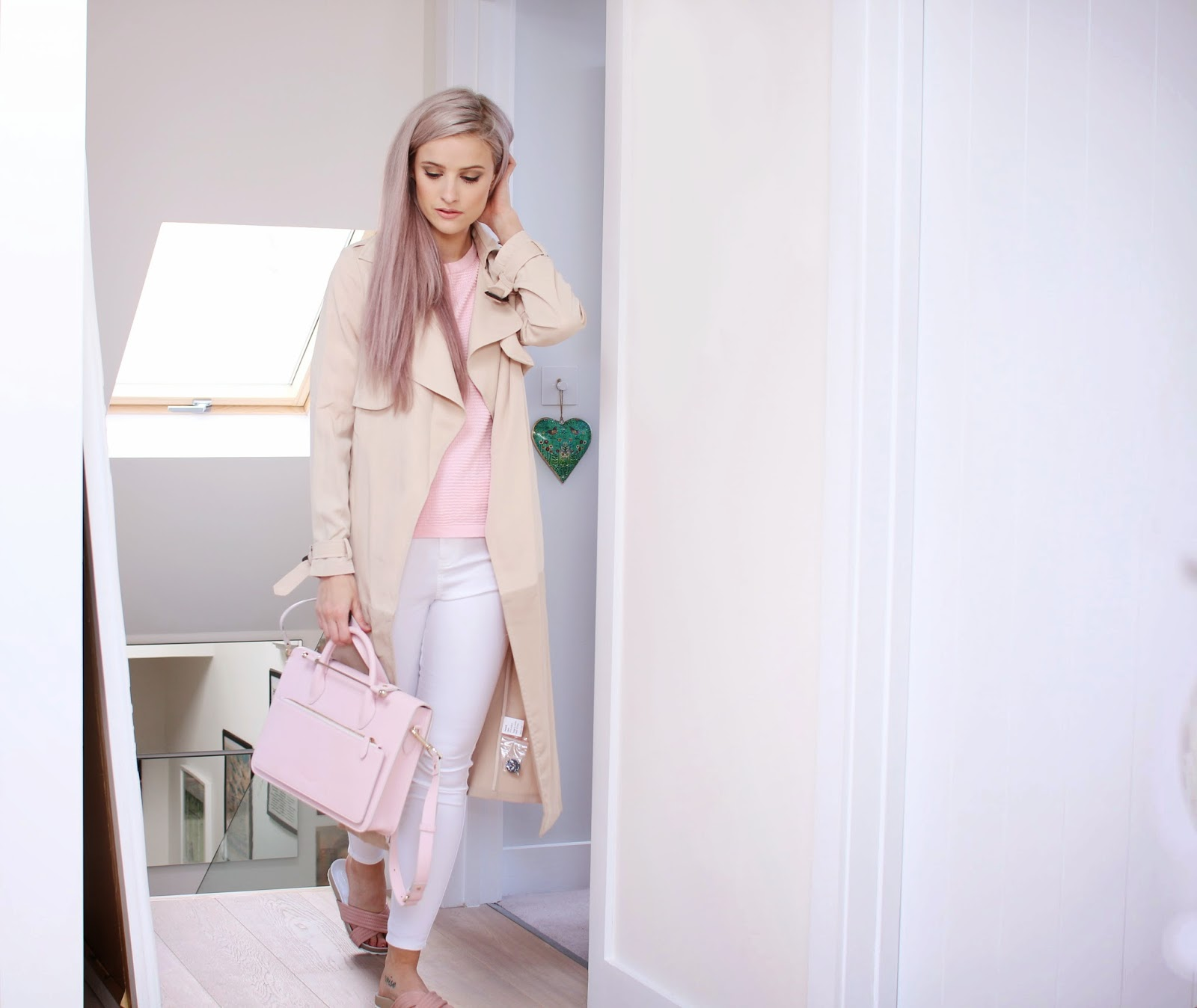 Paisie two tone mac, Just Femal Pink Esse Jumper, ASOS White grazer jeans, Dune Sliders, Strathberry of Scotland Mini Tote in Pink