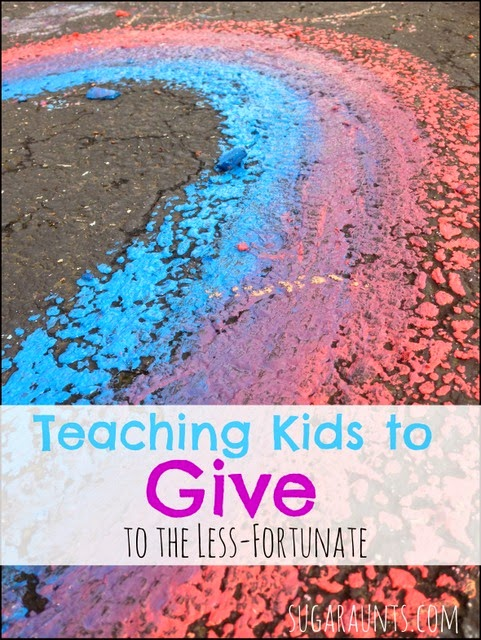 Teaching kids to give to the less-frtunate.  Simple ideas for kids to help in a big way.