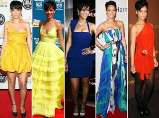 Rihanna com vestidos coloridos.