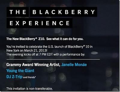 Parece que tiene el evento de lanzamiento oficial del BlackBerry 10 en Nueva York era sólo una muestra de el nuevo dispositivo BlackBerry 10.. BlackBerry vuelve a la segunda ronda con el evento de lanzamiento del BlackBerry 10 en los EE.UU el próximo 21 de Marzo. En el evento estarán presentes algunos artistas para el entretenimiento de los participantes.