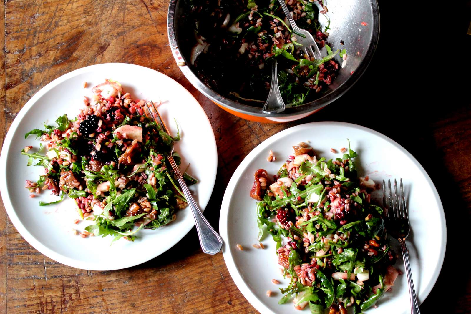 Farro salad with blackberry, fig, fennel and balsamico