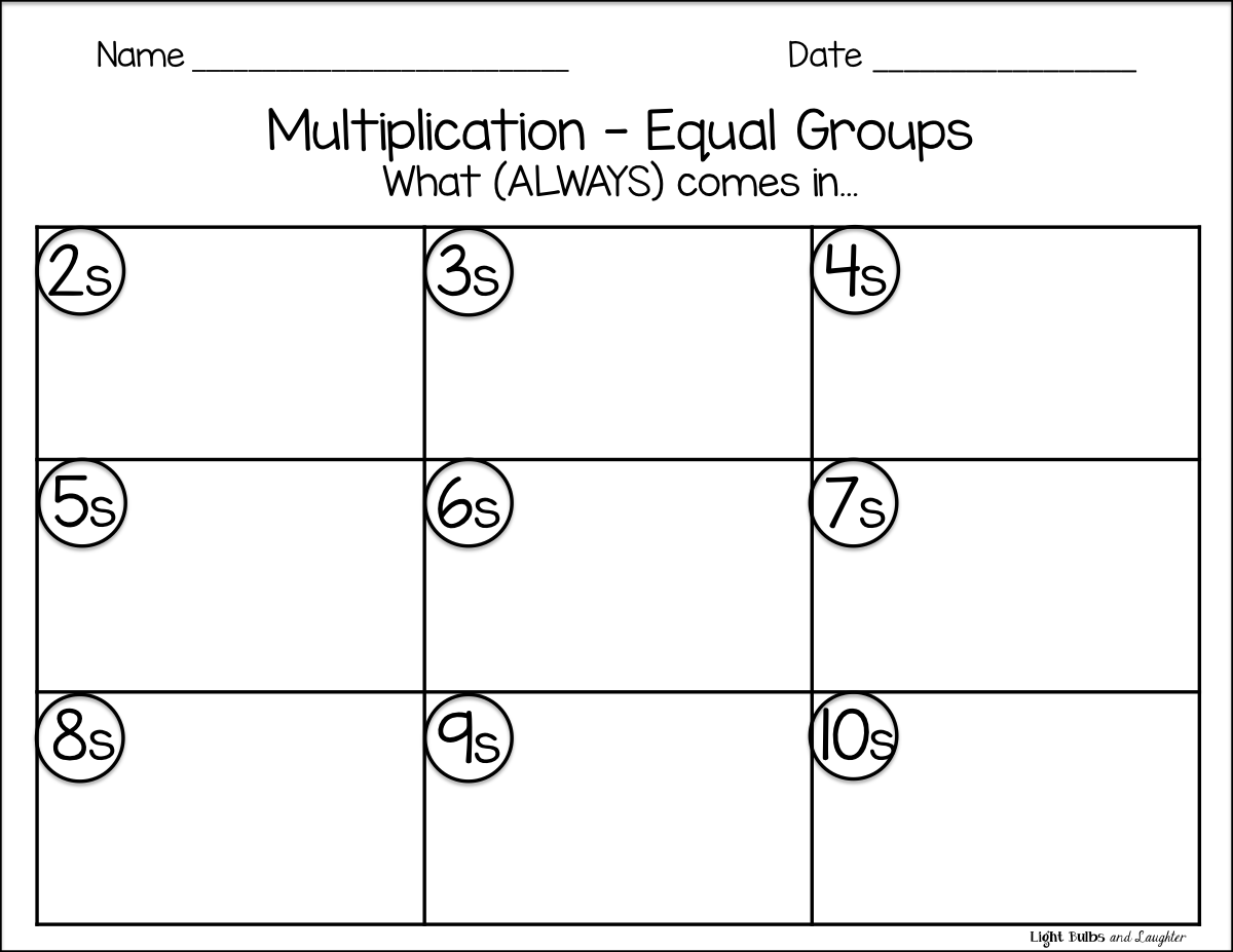 Worksheet Equal Groups Multiplication Worksheets light bulbs and laughter intro to multiplication things that equal groups blog