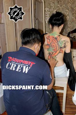 body painting jakarta koi fish yakuza