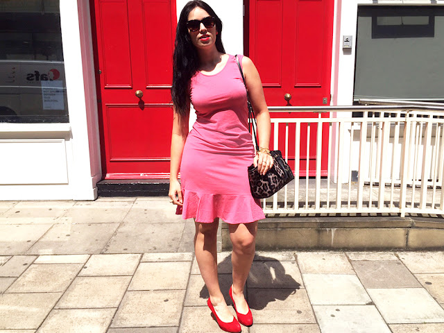 Araminta coral pink dress on London style blogger Emma Louise Layla - ethical fashion brand