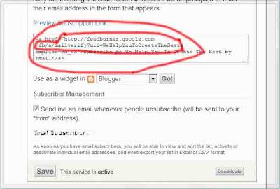 Copy the code to add feedburner form