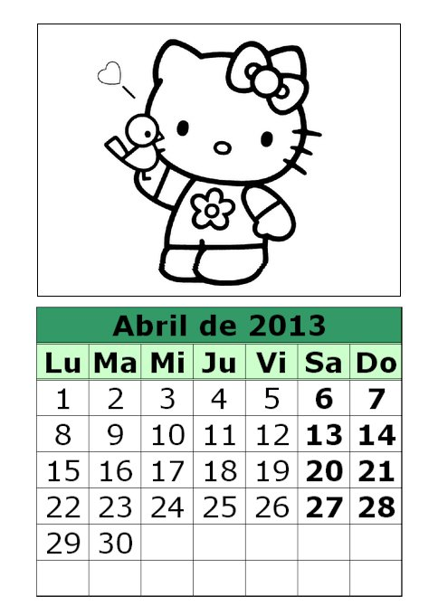 Calendario de Hello Kitty para colorear de 2013 (2ª parte)