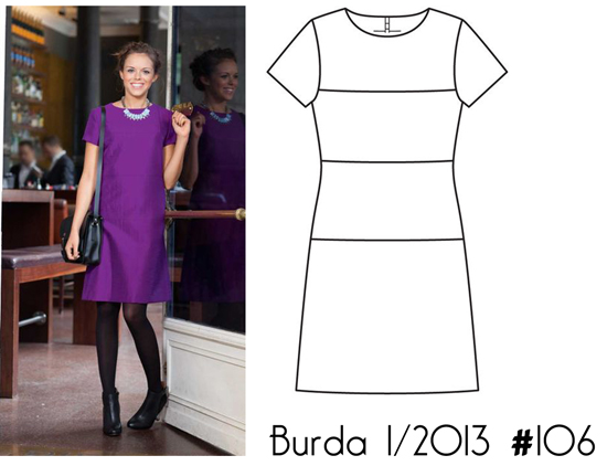 Burda-1-2013-#106-horizontal-seam-dress