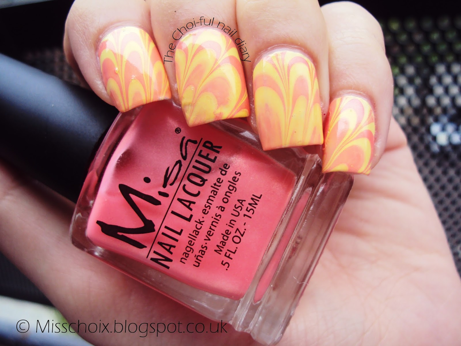 China Glaze\'s Lemon fizz and Misa\'s Pink cadillac water marble ...