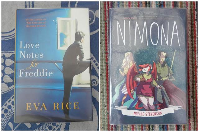 Library Love. Love Notes for Freddie - Eva Rice Nimona - Noelle Stevenson Going Vintage - Lindsey Leavitt Bodies of Light - Sarah Moss #ukbookblog secondhandsusie.blogspot.co.uk