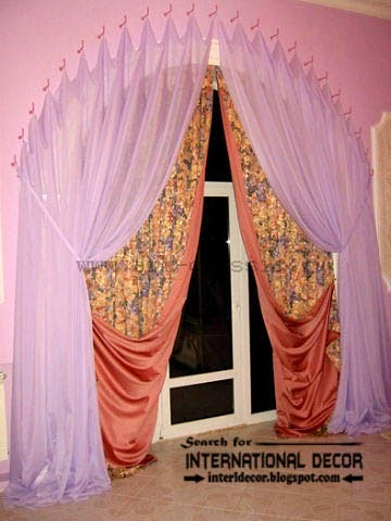 Modern pink curtains,arched curtain designs, hanged by curtain hooks