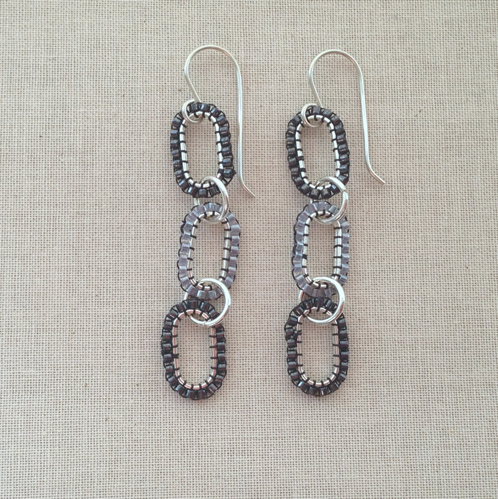 Simple to make!  DIY Chan Luu style triple beaded link earrings