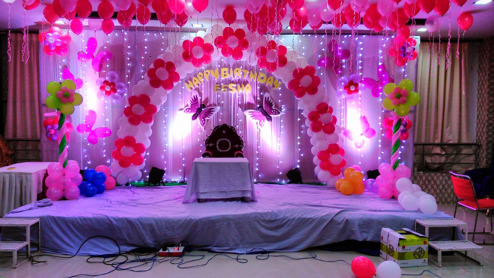 Birthday party decorations in hyderabad vijayawada for Baby birthday decoration photos