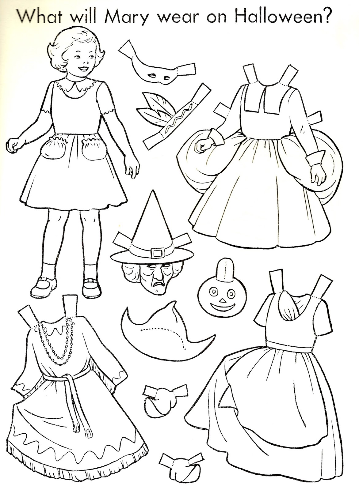 the paper collector halloween paper doll to color 1951
