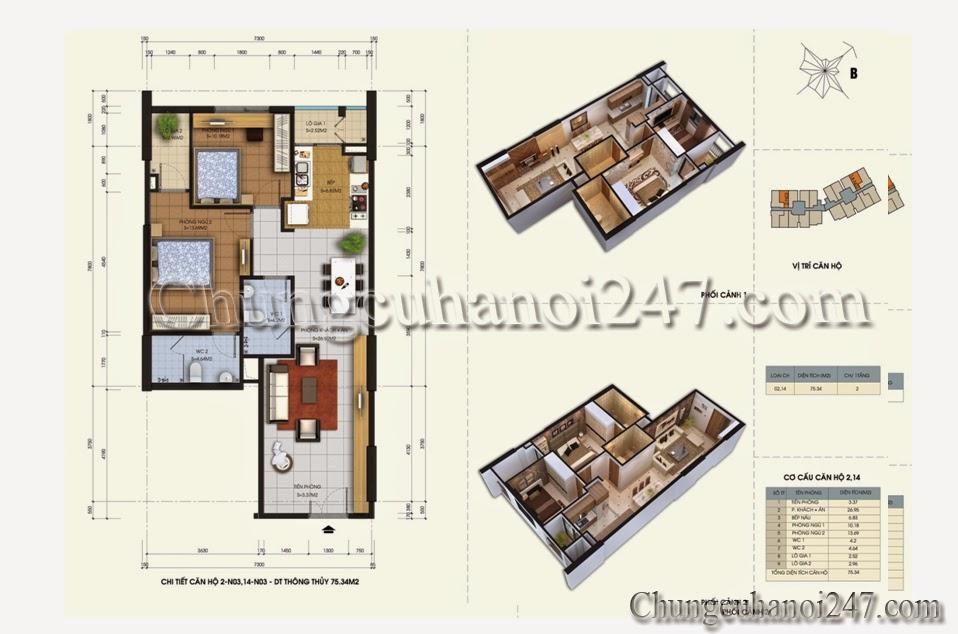 Mặt bằng căn hộ 75.34m2 tòa N03 chung cư 87 Lĩnh Nam