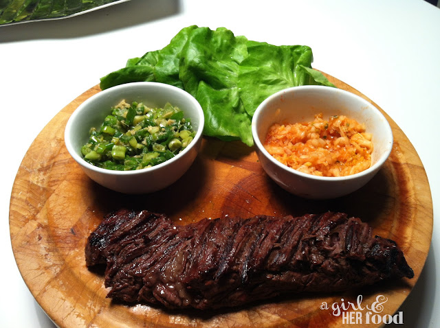 Girl & Her Food: marinated hanger steak ssam with red kimchi puree ...