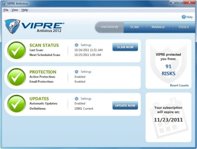 screenshot VIPRE Antivirus Antispyware Terbaru 2012