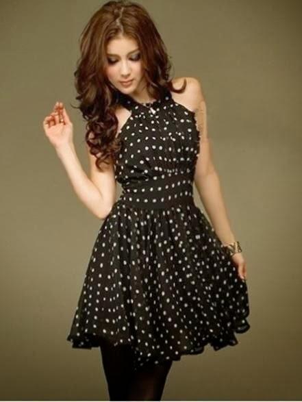 Black Fashion White Polka Dot Sleeveless Dress