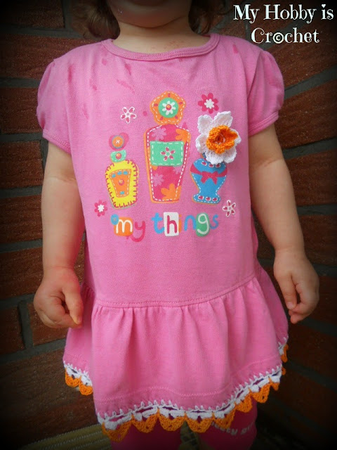 baby fabric dress with crochet edge