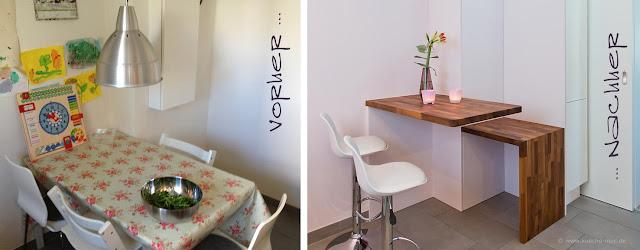 kleiner Esstisch auf Höhe der Arbeitsplatte - so ist der Tisch ...