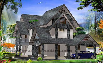 Kerala Model Sloping Roof on Nadumuttam House Plans In Kerala Model