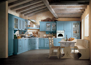 shabby chic country style blue kitchen