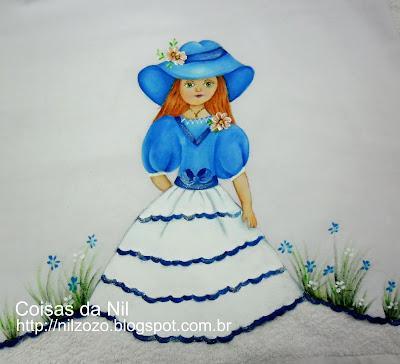 boneca pintada em pano de copa
