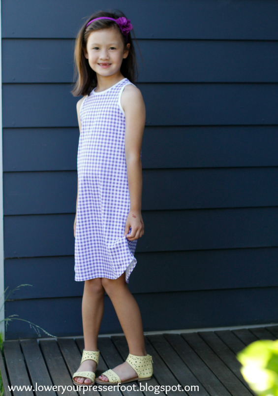 purple gingham girl singlet dress www.loweryourpresserfoot.blogspot.com