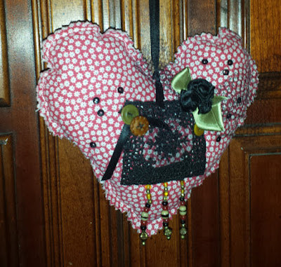 Black Lace Hanging Heart
