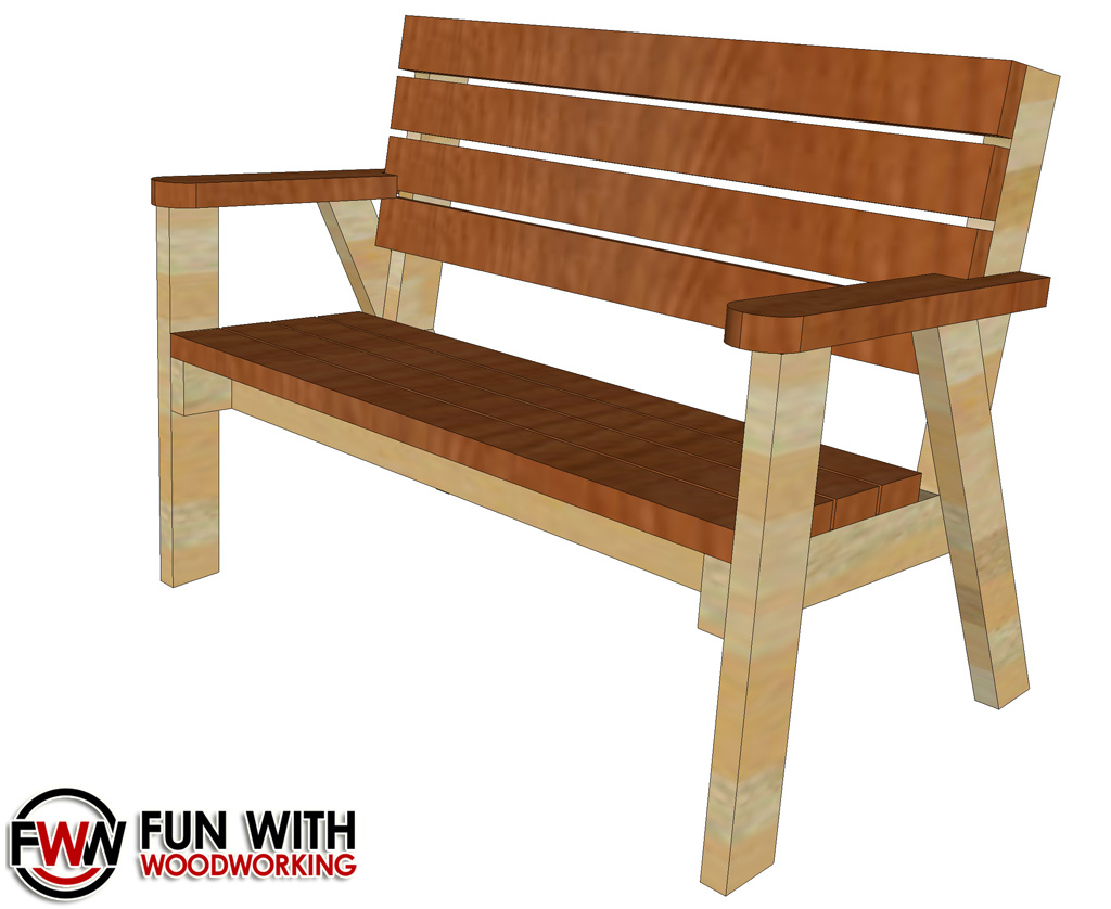 Fun With Woodworking: Full plans for the Park Bench with a reclined ...